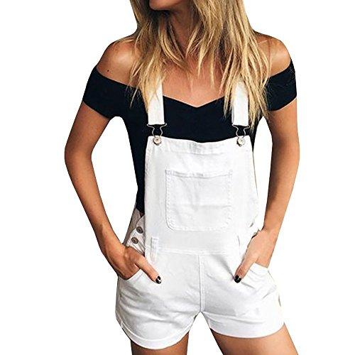 chimikeey Womens Juniors Destroyed Denim Bib Short Overalls Shorts Jean Shortalls Classical Blue ()
