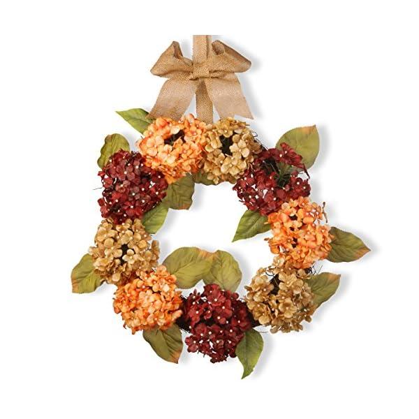 National Tree 24 Inch Mixed Hydrangea Wreath with Burlap Ribbon (RAS-W060614A)