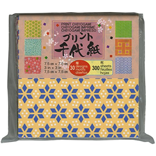 (Aitoh PC3-300 Mini Print Origami Paper, 3-Inch by 3-Inch, 300-Pack)