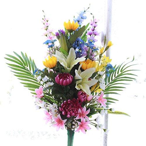 山久 菩提寺の献花に 柔らかな色合いの仏様の花束大 0811-6584 CT触媒加工 シルクフラワー 造花 B011BGF9KW