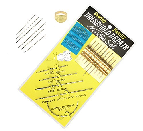 Household Repair Needle Set Hand Sewing Needles and Threader ,Varous Size Tranditional Needles , Blind Needles and Special Needles for Repair Carpet Sail Sack ()