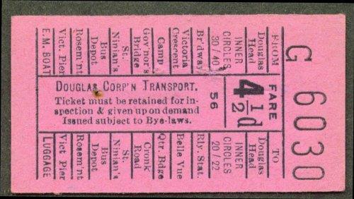 Douglas Corp Transport Isle Of Man Uk Bus Ticket 4 1 2D