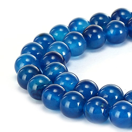 BRCbeads Gorgeous Natural Blue Zircon Agate Gemstone Smooth Round Loose Beads 8mm Approxi 15.5 inch 45pcs 1 Strand per Bag for Jewelry (Smooth Round Beads)