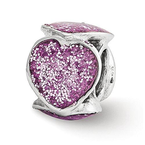 Sterling Silver and Violet Glitter Enameled Heart Bead Charm - Enameled Heart Bead