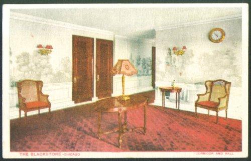 Corridor & Hall Blackstone Hotel Chicago postcard 1910s