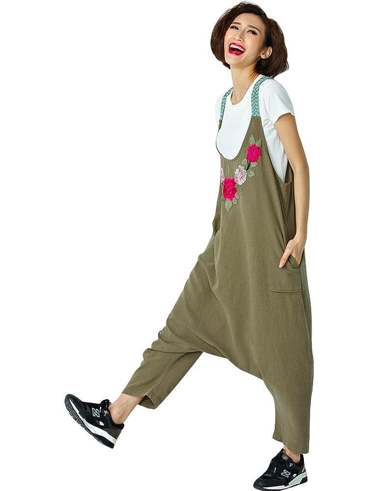 IDEALSANXUN Womens Plus Size Cotton Linen Long Overalls Jumpsuits Wide Leg Loose Pants