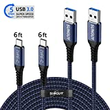 SUNGUY USB C 3.0 Cable,[2-Pack,6ft x2] Nylon Braided Quick Fast Charging & Data Sync USB 3.0 Type C Cord for Samsung Galaxy S10 S9 S8 Plus Note 9, Google Pixel 3 2XL, Sony Xperia XZ, LG V30 G7 (Blue)