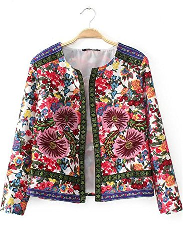 Retro Ethnic Floral Print Embroidered Crop Short Jacket Thin Padded Coat Outwear