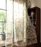 pureaqu Rod Pocket Top Window Sheer Panels Floral Birds Design Door Curtain Sheer Voile Drapes Living Room Countryside Rustic Style Curtain Tulle Bedroom 1 Panel W75 x H84 inch Review