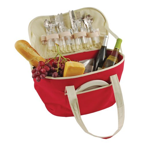 True  by True Fabrications Country Side Cooler, Collapsible for Easy Storage, Insulated Lining and Includes 4 Wine Glasses, 4 Spoons, 4 Knives, 4 Forks, 4 Plates, 1 Corkscrew and Salt & Pepper Shakers - Red - Cork For Salt Shaker
