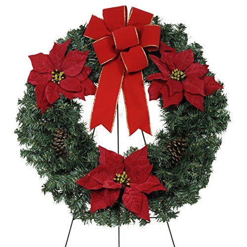 Sympathy Silks Christmas Memorial-Wreath Décor - Red Poinsettias and Pinecones with a Hand-Tied Bow - Artificial Greenery Wreath - Fade Resistant ()