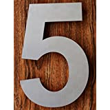 QT Modern House Number - 6 Inch - Brushed Stainless Steel (Number 5 Five), Floating Appearance, Easy to install and made of solid 304