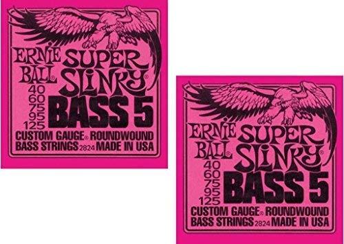 (Ernie Ball P02824 ^2 Super Slinky 5 Bass Strings, 2 Pack)