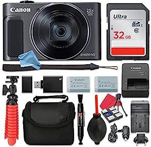 Canon PowerShot SX620 HS Digital Camera (Black) 25x Optical Zoom + 32GB SD + Spare Battery + Complete DigitalAndMore Free Accessory Bundle