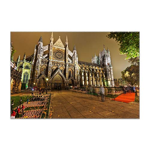 TOGGIP Washable Easy to Clean London Castle Road People Placemat for Kitchen Table Heat-resistand Table Mats 12x18 inches ()