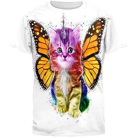 Rainbow Butterfly Unicorn Kitten All Over Adult T-Shirt - X-Large (Cheap Butterfly Stuff)