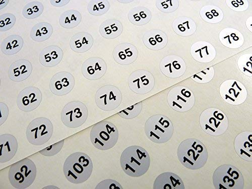 Silver 13mm (0.5 inch) Round Consecutive, Sequential Number Sequence Labels, Numbering Stickers, From 1 to 160