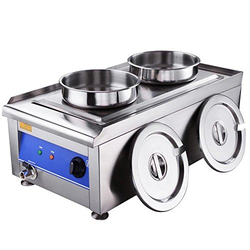 Commercial Electric Food Warmer Stainless Steel Countertop Restaurant Kitchen Soup Chili Warmer Twin Pot 1200W (Walmart Round Glass Table Top)