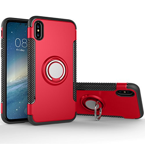 iPhone X Case, SUNGUY Armor Dual Layer Heavy Duty Shockproof Protection Case with 360 Degree Rotating Finger Ring Holder and Magnet Car Holder Cover Case for Apple iPhone X - Red