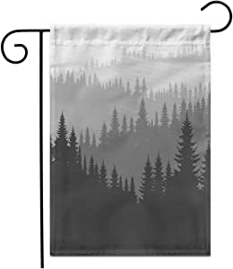 """Adowyee 28""""x 40"""" Garden Flag Coniferous Forest Silhouette Template of Pine Treesmountain Landscape Hill Range Outdoor Double Sided Decorative House Yard Flags"""