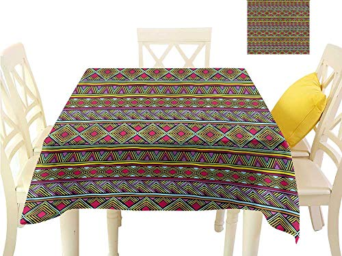WilliamsDecor Summer Table Cloths African,Geometric Colorful Non Slip Tablecloth W 50