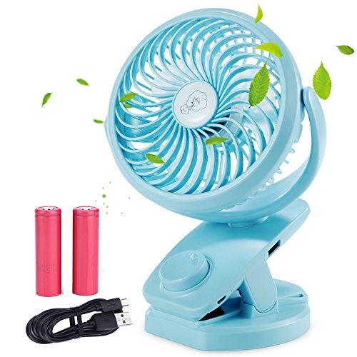 Price comparison product image BLUBOON Rechargeable Battery Operated Clip on Fan Desk USB Powered Fan Mini Portable Personal Fan for Baby Stroller,  Car,  Travel,  Office,  Outdoor,  Camping,  Gym,  Dorm