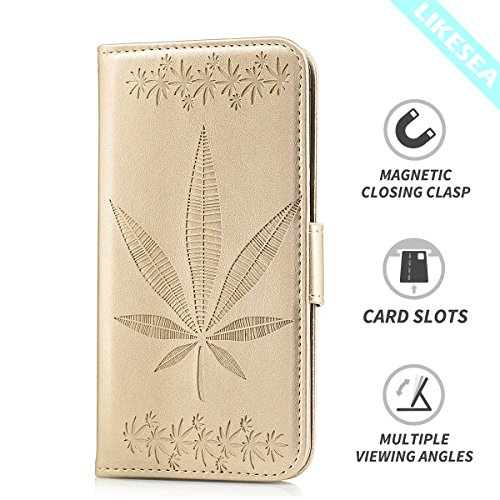 LIKESEA Maple Leaves Wallet Case for HTC Desire 820, Premium PU Leather Protective Stand Case Flip Cover with Card Slots, Magnetic Closure, Gold