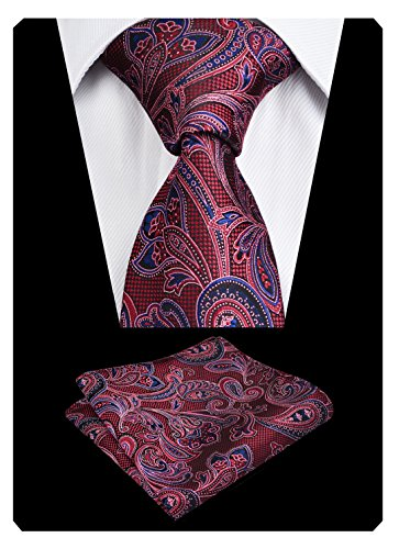 - Mens Tie Sets for Wedding Party Gift Box Neckie+Hanky, Maroon