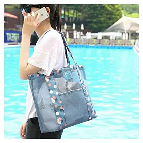 Womens Mesh Lightweight Tote Hand,Oahu XXL Fashion Mesh Beach Bag Tote Shoulder Bag Great for the Beach or Stadium Events, Large Pockets,Foldable Travel Bag Waterproof Travel Duffel Bag (Blue)