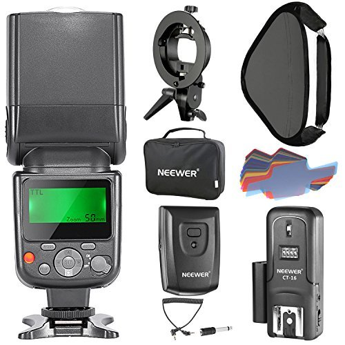 Neewer NW-670 TTL Flash Speedlite Kit for Canon DSLR Cameras, Includes Flash Light, CT-16 Wireless Trigger, 16x16 inches/40x40 centimeters Softbox with S-type Bracket and 20 Pieces Color Filter