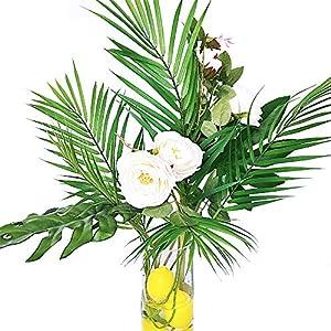 Supla 3 PCS 3 Size ArtificialAreca Palm TropicalLeaves Stems Faux Plastic PalmTreeLeaves Faux Monstera Leaves Plastic Palm Leaf Greenery Floral Arrangement Hawaiian Luau Jungle Beach Wedding Party 4