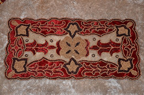 Gold Rectangular Net with deep Burgundy (Wine-red) Velvet Work Hand Beaded Embroidery Tablecloth with Tassels (1, 16