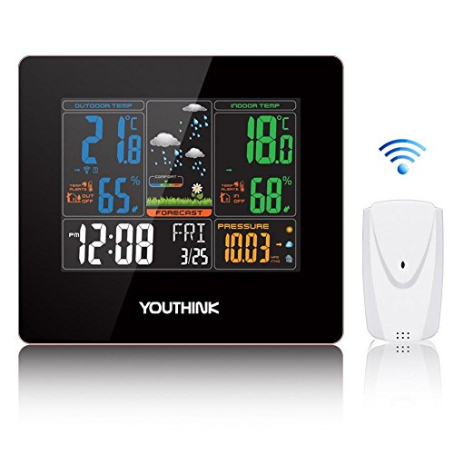 Zerone Wireless Weather Station Clock, Forecast Station Home Alarm Clock with Temperature and Humidity Monitor, 330ft Wireless Range Color Forecast Station Large Digital Display by Zerone