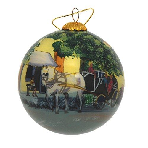 Art Studio Company Hand Painted Glass Christmas Ornament - Horse & Carriage Charleston