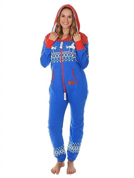 Tipsy Elves Pijama azul y rojo de cuerpo entero. Estampado de grecas alpinas Size XXS