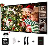 100 Inch Projector Screen - ODRVM 100 inch Projector Screen 16:9 HD Anti-Crease Portable Easy to Install Outdoor Movie Screen with Storage Bag for Outdoor and Home Theater Double Sides Projection (100 inch)