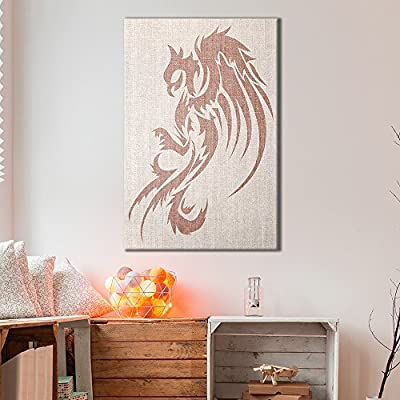 Canvas Wall Art - Dragon Pattern on Vintage Background - Giclee Print Gallery Wrap Modern Home Art Ready to Hang - 12x18 inches