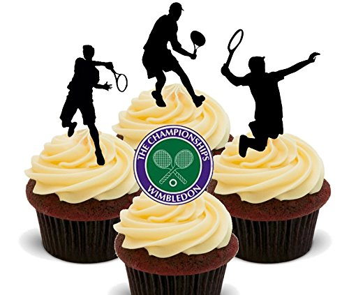 Wimbledon Mens' Tennis Player Silhouettes - Edible Cupcake Toppers - Stand-up Wafer Cake Decorations (Pack of 12)
