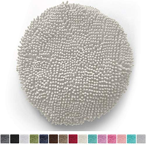 Gorilla Grip Original Shag Chenille Bath Rug Toilet Lid Cover, 19.5 Inchx18.5 Inch Large Size, Machine Washable, Ultra Soft Plush Fabric Covers, Fits Most Size Toilet Lids for Bathroom, Ivory Cream