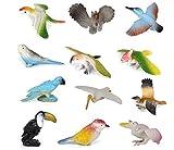 12pcs Plastic Birds Model Toy Multi-color