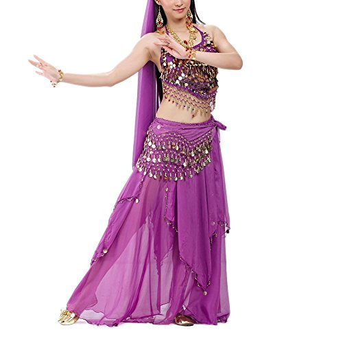 [BellyLady Professional Belly Dance Costume, Halter Bra Top, Hip Scarf and Skirt PURPLE] (Purple Belly Dance Costume)