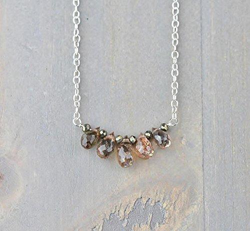 JP_Beads Andalusite Briolette Teardrop Necklace in 14k Gold Filled Filled Filled Or Sterling Silver, Natural Faceted Brown Gemstone Necklace, Andalusite Jewelry 5-7mm (Gemstone Briolette Teardrop)