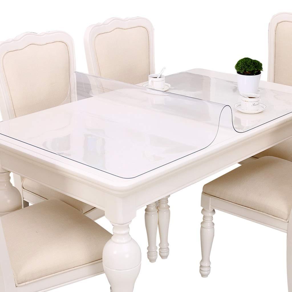PVCテーブルクロス防水アンチホットアンチオイルプラスチック長方形テーブルマット透明なコーヒーテーブルパッド、5.0ミリメートル (色 : トランスペアレント, サイズ さいず : 80×150cm) 80×150cm トランスペアレント B07HD42722
