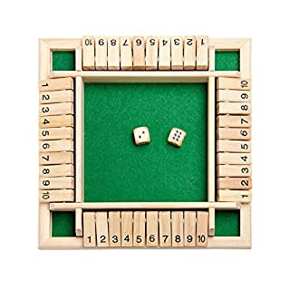 MANDIY Shut The Box Dice Game Wooden for Kids & Adults, Mathematic Traditional Pub Board Dice Game, Four Sided 4 Players Wooden 10 Number Amusing Game for Learning Addition Green-01