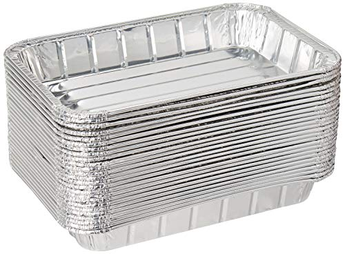 Pack of 25 Disposable Aluminum Foil Toaster Oven Pans - Mini Broiler Pans | BPA Free | Perfect for Small Cakes or Personal Quiche | Standard Size - 8 1/2 x 6