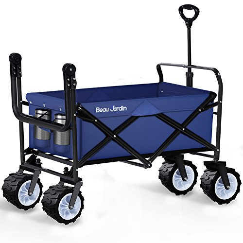 Folding Wagon Cart Collapsible Utility Camping Grocery Canvas Fabric Sturdy Portable Rolling Lightweight Beach Sand Buggies Outdoor Garden Sport Picnic Heavy Duty Shopping Cart Wagons With Wheels Blue (Plastic Wagon Wheel)