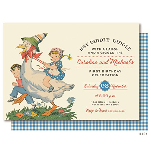 Mother Goose Nursery Rhyme Birthday Party Invitations