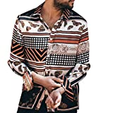 iHHAPY Casual Shirts Mens Hawaii Print Long Sleeve Shirt 2019 New Kent Collar Basic Shirt for Leisure Vacation Beach Brown