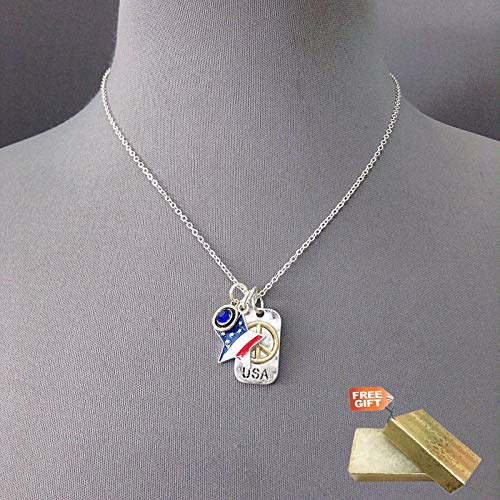 Silver Finished Star USA Flag Blue Rhinestones Peace Sign Charm Pendant Necklace Set For Women + Gold Cotton Filled Gift Box for Free