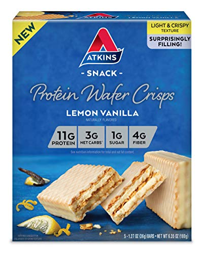 Atkins Protein Wafer Crisps, Lemon Vanilla, 5 Count -